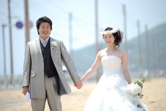 志賀島でドレス撮影