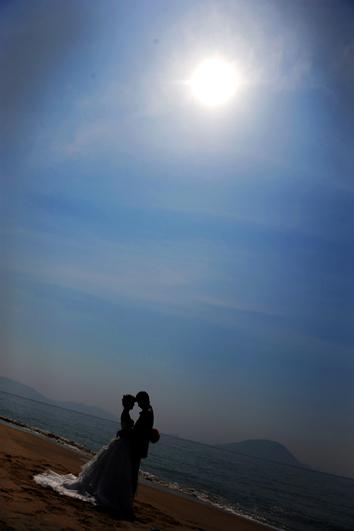 志賀島でシルエット写真