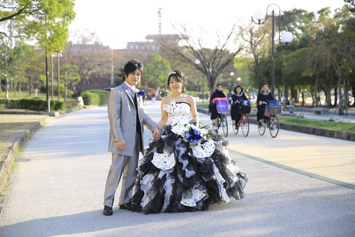 大濠公園でドレス撮影