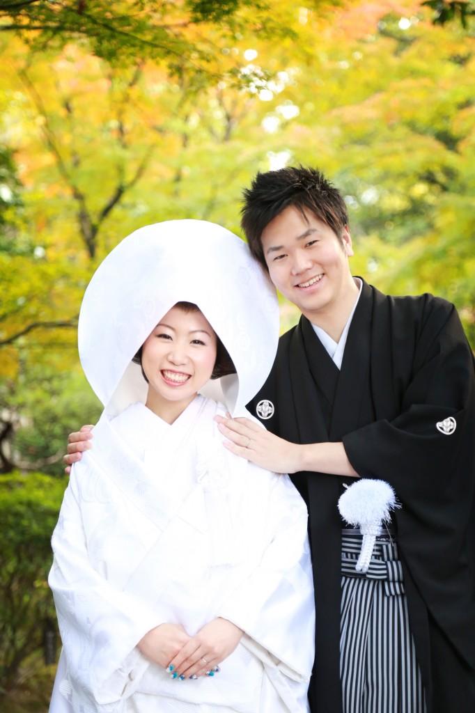 福岡、前撮り、和装、紅葉、日本庭園、友泉亭