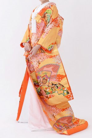 福岡色打掛けF-033 オレンジ扇