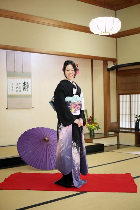 黒振り袖 前撮り 日本庭園