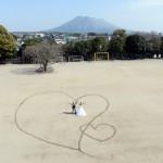 熊本,鹿児島,宮崎,和装,洋装,前撮り,結婚式当日,,母校運動場
