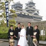 熊本,鹿児島,宮崎,和装,洋装,前撮り,結婚式当日,,熊本城を背景に家族写真