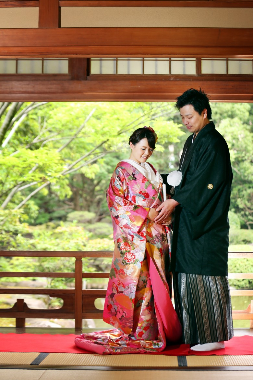 福岡 友泉亭 日本庭園 前撮り婚礼写真 和装