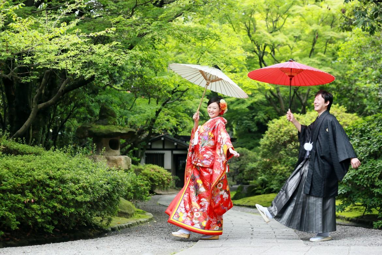 福岡 友泉亭 前撮り 日本庭園