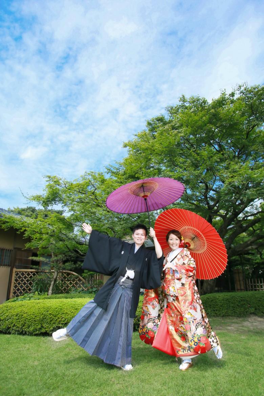 福岡 前撮り 和装 日本庭園 松風園