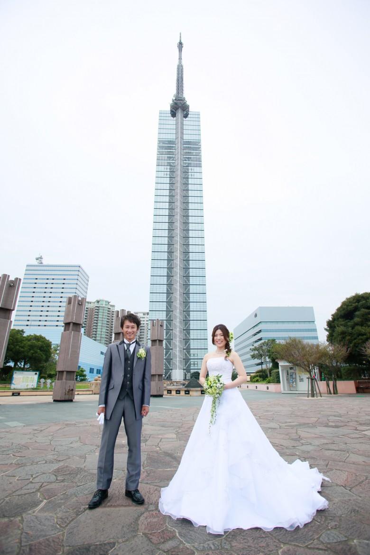 福岡 前撮り 洋装 海  婚礼写真 福岡タワー マリゾン 砂浜