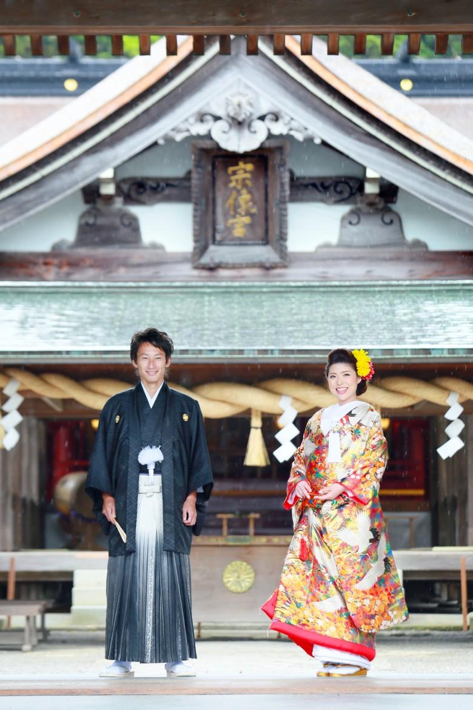宗像大社 前撮り 婚礼 和装 神前挙式 交通安全