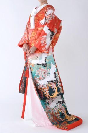 福岡色打掛けF-024 赤鶴グラデ