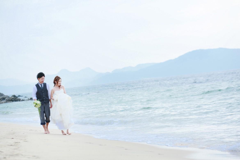 福岡 前撮り 洋装 海 森 婚礼写真 志賀島 砂浜