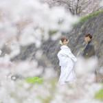 熊本,和装,洋装,前撮り,結婚式当日,,熊本城・桜