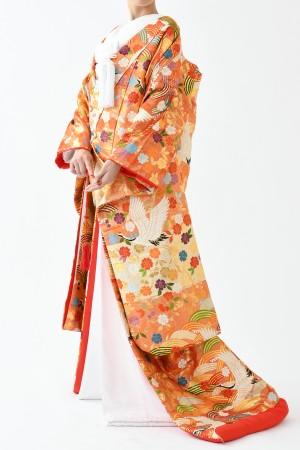 福岡色打掛けF-036 オレンジゴールド