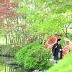 夏の海、早秋の深緑、2日に分けてのこだわりプラン-前撮り スタジオフィール 福岡県 友泉亭公園