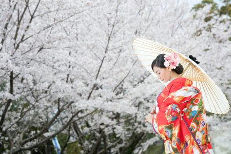 桜 前撮り 熊本城 和装 スタジオフィール