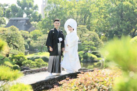 熊本 前撮り 水前寺公園 日本庭園 和装 スタジオフィール 洋髪綿帽子