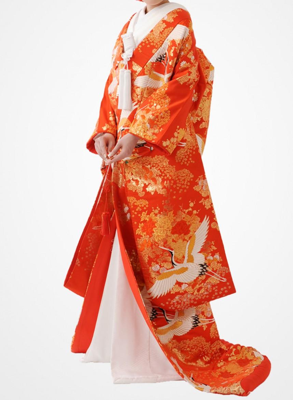 福岡色打掛けF-020 赤鶴