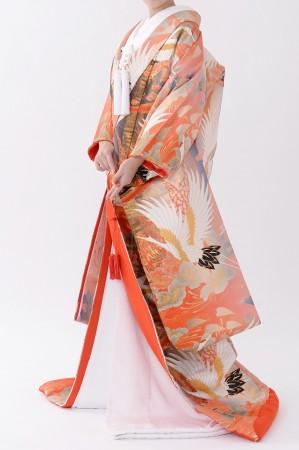 福岡色打掛けF-018 赤鶴ラメ