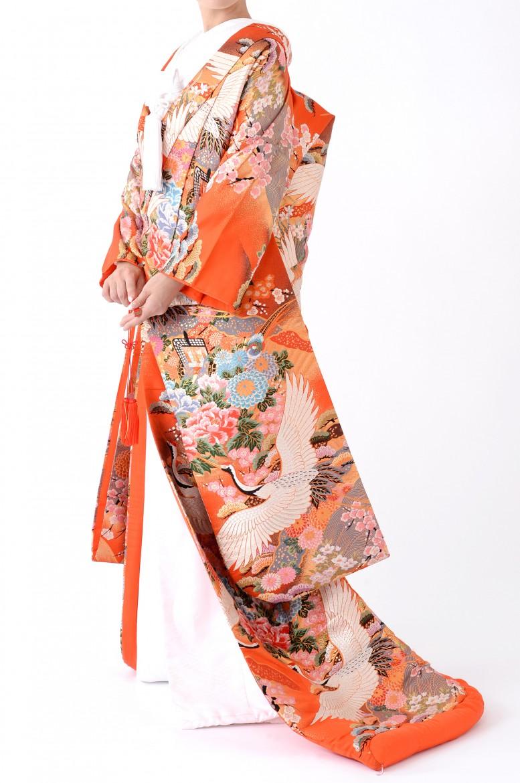 福岡色打掛けF-005 オレンジ牡丹