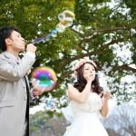 熊本,鹿児島,宮崎,和装,洋装,前撮り,結婚式当日,,熊本城でシャボン玉
