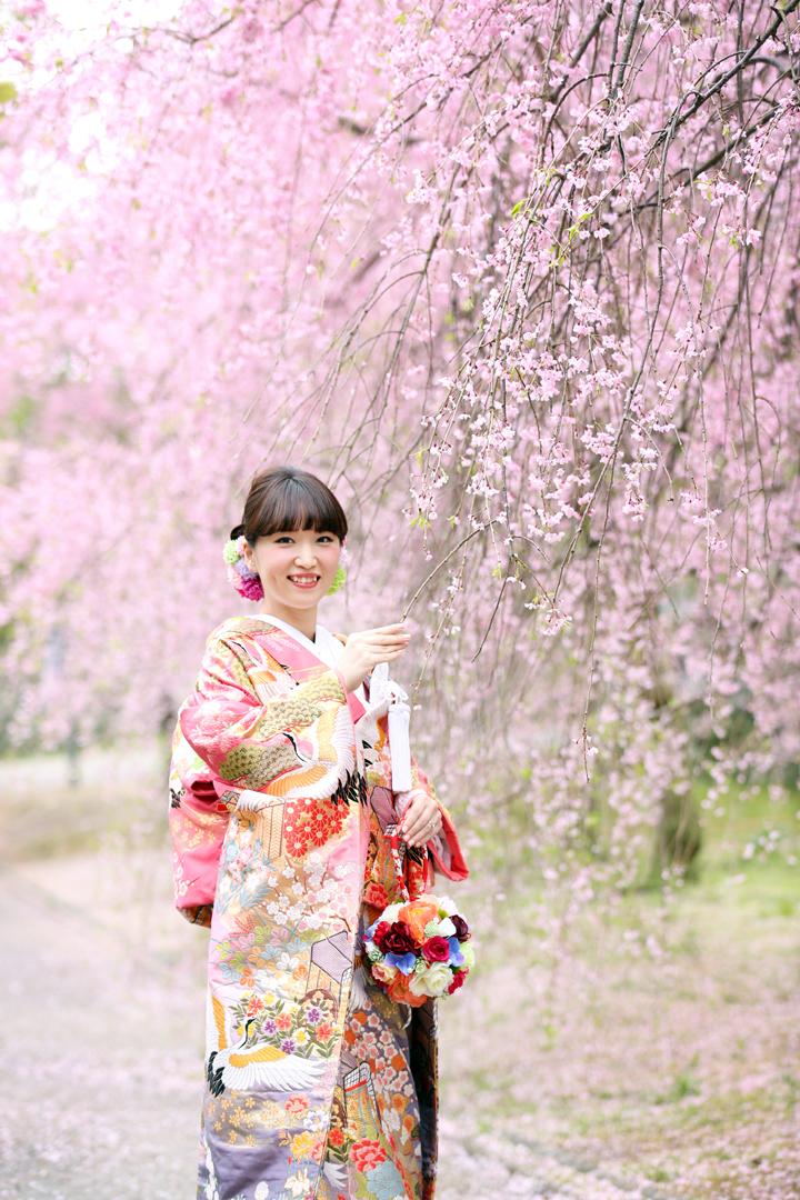 福岡,和装,洋装,前撮り,結婚式当日,,桜前