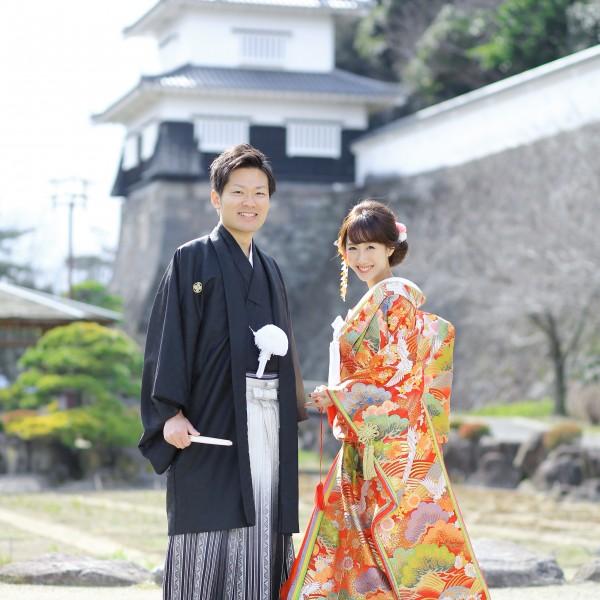 長崎,和装,洋装,前撮り,結婚式当日,,大村城について