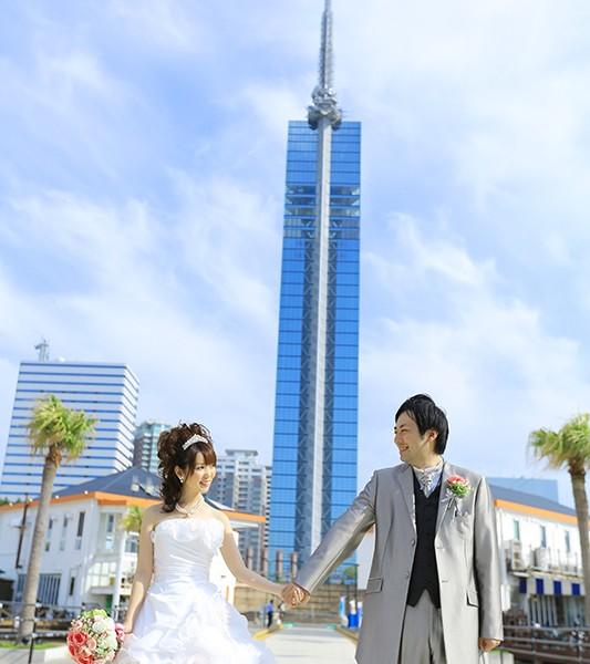 福岡,和装,洋装,前撮り,結婚式当日,,百道浜海浜公園