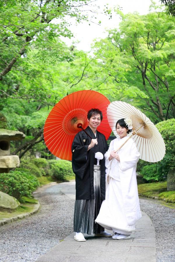 福岡 友泉亭 前撮り 和装 日本庭園 婚礼写真
