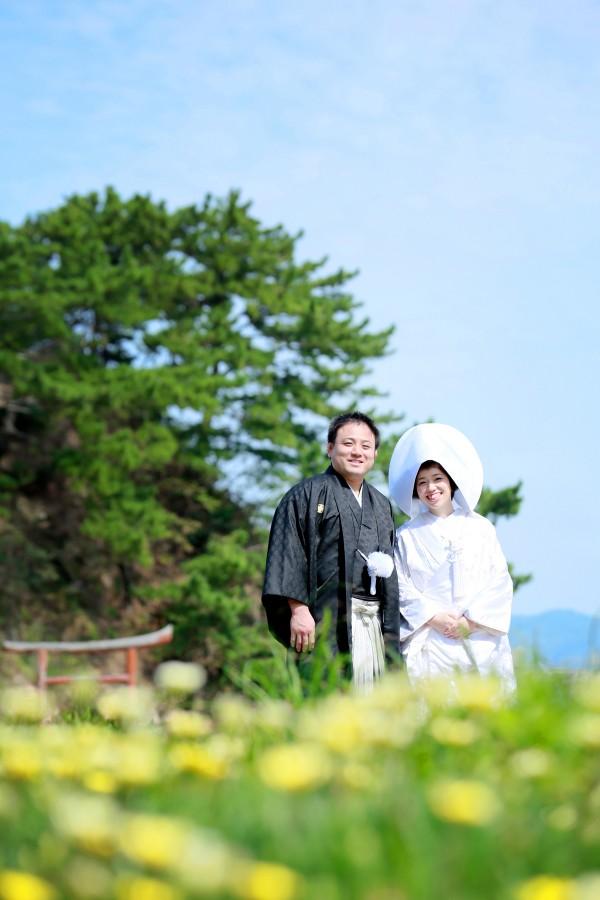 福岡 宗像市 大島 宗像大社 中津宮 前撮り 和装 婚礼写真 自宅着付け 自宅撮影
