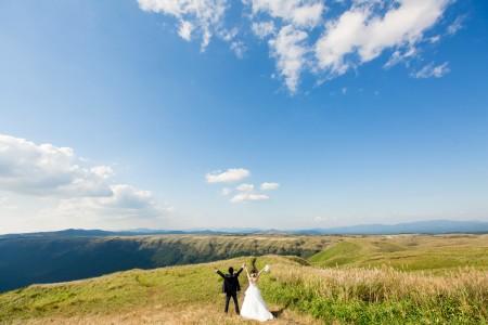 熊本 大観峰 前撮り 婚礼写真 ドレス