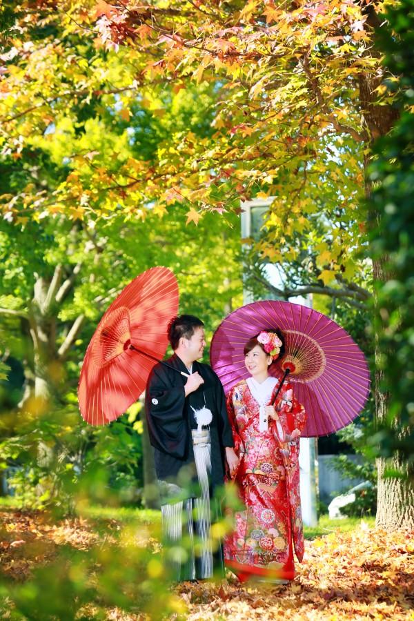 福岡 紅葉 和装 前撮り 婚礼写真 大濠