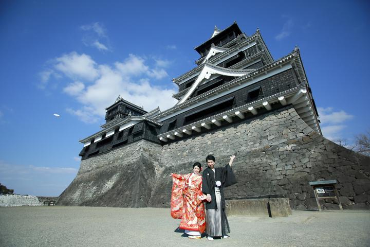 熊本城 前撮り和装 日本庭園 婚礼写真
