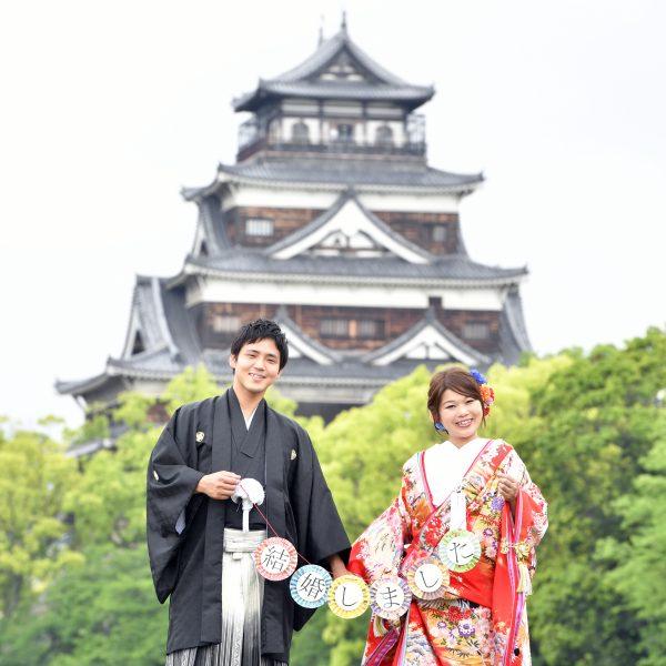 広島,和装,洋装,前撮り,結婚式当日,,広島城について