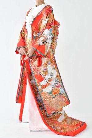 福岡色打掛けF-035赤牡丹亀甲