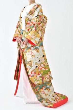 福岡色打掛けF-022 鶴桜ゴールド