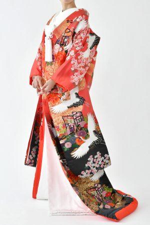 福岡色打掛けF-026 赤菊御所車