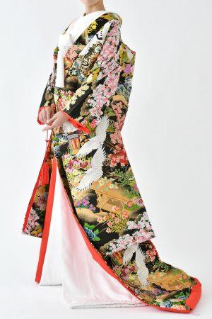 福岡色打掛けF-041黒桜御所車