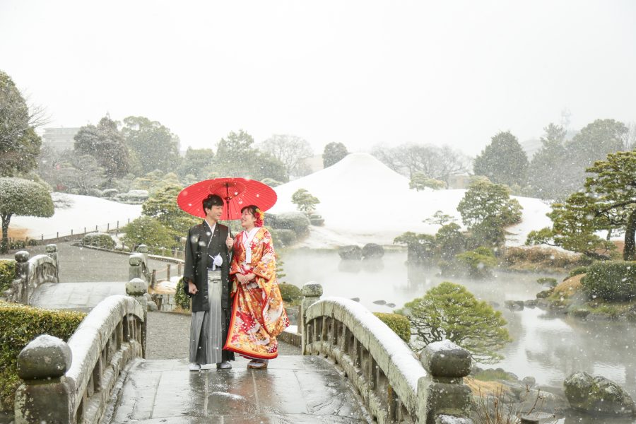 熊本 雪 冬 水前寺公園 スタジオフィール 和装前撮り