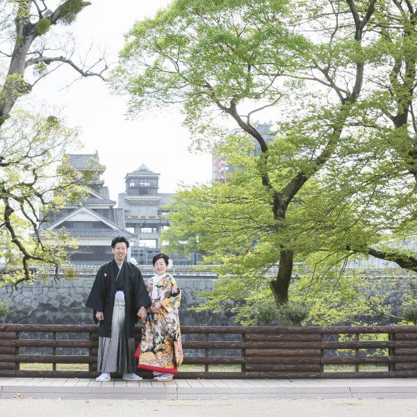 熊本,和装,洋装,前撮り,結婚式当日,,【震災後立ち入り禁止となっております】熊本城周辺 旧細川邸でも撮影可能