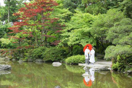 福岡 友泉亭 日本庭園 前撮り 和装 白無垢 色打掛 スタジオフィール