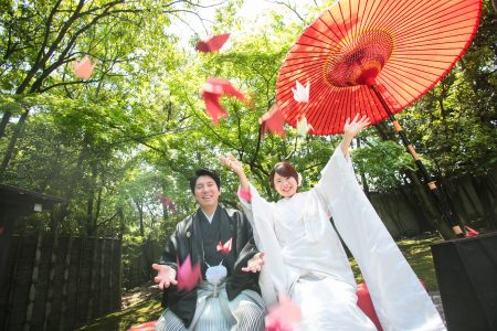 福岡 友泉亭 日本庭園 前撮り 和装 白無垢 色打掛