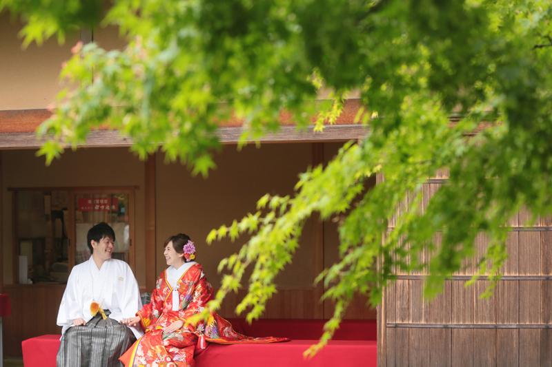 福岡 松風園 日本庭園 前撮り 和装 白無垢 色打掛 スタジオフィール