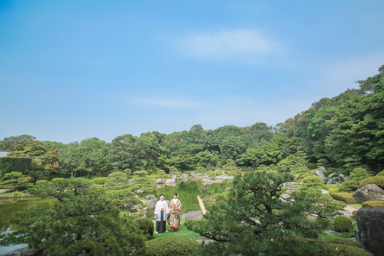 福岡 大濠日本庭園 和装 色打掛 スタジオフィール