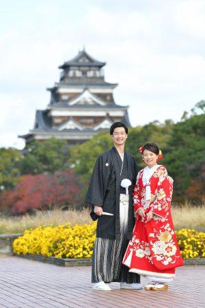 広島 広島城和装前撮りプラン-広島城 和装 前撮り スタジオフィール