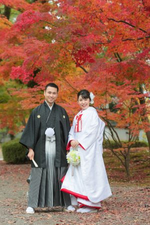 熊本城 紅葉 和装前撮り スタジオフィール 白無垢 色打掛