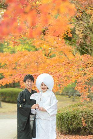 熊本 スタジオフィール 和装前撮り 白無垢 色打掛 紅葉