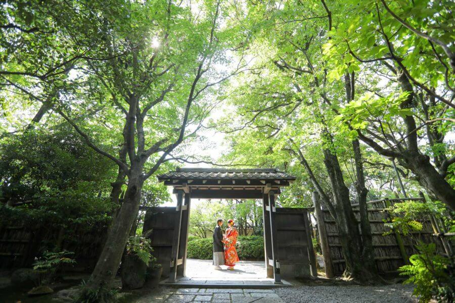前撮り 福岡 日本庭園 友泉亭 和装